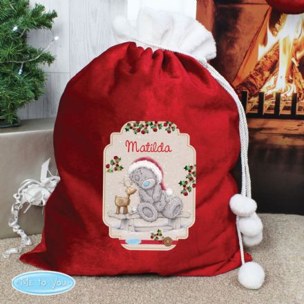 Personalised Me to You Reindeer Pom Pom Christmas Sack